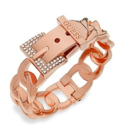 GUESS Hinged Crystal Accent Logo Bracelet