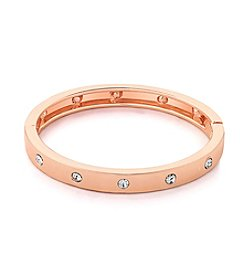 GUESS Rose Goldtone Hinged Crystal Accent Bangle Bracelet