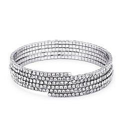 GUESS Silvertone Crystal Coil Bracelet