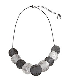 Erica Lyons® Two Tone Disks Frontal Necklace
