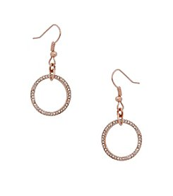 Erica Lyons® Rose Goldtone Drop Ring Earrings
