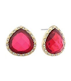 Gloria Vanderbilt™ Red Stone Teardrop Stud Earrings