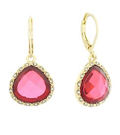 Gloria Vanderbilt™ Red Stone Teardrop Earrings