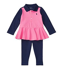 Ralph Lauren® Baby Girls' 2-Piece Peplum Polo And Leggings Set