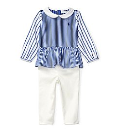 Ralph Lauren® Baby Girl's 2-Piece Striped Top and Leggings Set