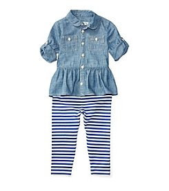 Ralph Lauren® Baby Girls' 2-Piece Peplum Top And Striped Leggings Set