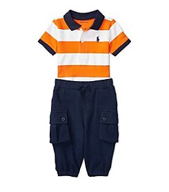 Ralph Lauren® Baby Boys 2-Piece Striped Polo And Pants Set