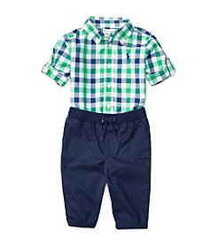 Ralph Lauren® Baby Boys 2-Piece Plaid Shirt And Joggers Set