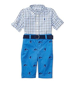 Ralph Lauren® Baby Boys 2-Piece Plaid Shirt And Schiffli Pants Set