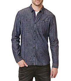 Buffalo by David Bitton Men's Simpr Long Sleeve Waxed Chambray Button Down Shirt