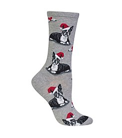 Hot Sox® Boston Terrier Christmas Crew Socks