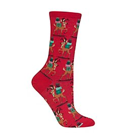 Hot Sox® Reindeer With Presents Crew Socks