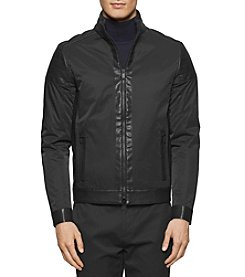 Calvin Klein Men's Faux Leather Mixed Media Jacket