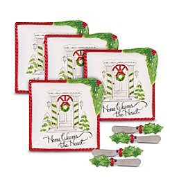 Fitz and Floyd® Set of 4 Vintage Holiday Snack Plate with Spreader