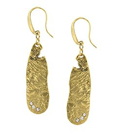 T.R.U™ 14K Gold-Dipped Sculptured Drop Earrings Embellished with Swarovski® Crystals