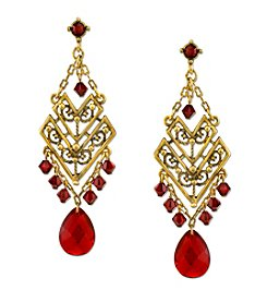 T.R.U™ Double Chevron Chandelier Earrings with Glass Briolette and Swarovski® Crystals