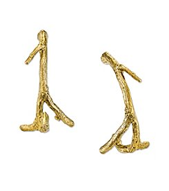 T.R.U™ Matte 14K Gold-Dipped Small Tree Branch Hoop Earrings