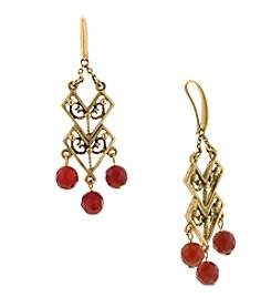 T.R.U™ Matte Antique 14K Gold-Dipped and Carnelian Chevron Drop Earrings