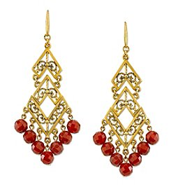 T.R.U™ Antiqued 14K Gold-Dipped Semi-Precious Carnelian Chevron Chandelier Earrings