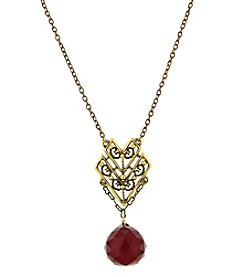 T.R.U™ 14K Gold-Dipped Chevron Red Faceted Briolette Drop Necklace
