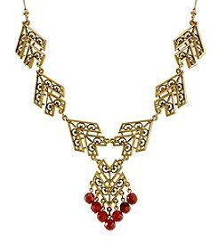 T.R.U™ Antiqued 14K Gold-Dipped with Semi-Precious Carnelian Chevron Necklace