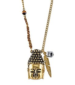 T.R.U™ Waxed Linen Wrapped Chain with 14K Gold-Dipped Buddha Head Necklace