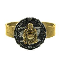 T.R.U™ Matte 14K Gold-Dipped Hinged Sitting Buddha Bracelet