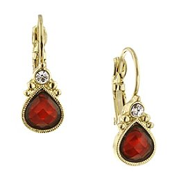 1928® Jewelry Goldtone Red Pearshape Drop Earrings