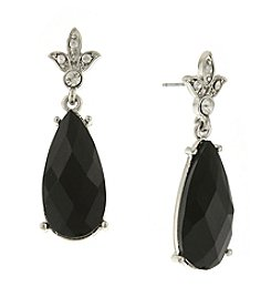 1928® Jewelry Silvertone Black Teardrop Earrings