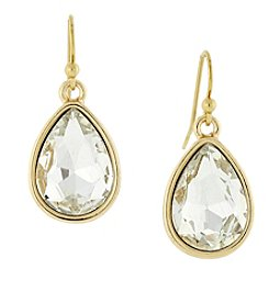 1928® Jewelry Goldtone Crystal Teardrop Earrings