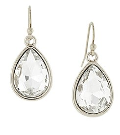 1928® Jewelry Silvertone Crystal Teardrop Earrings
