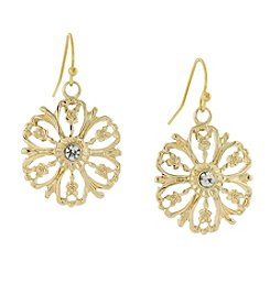 1928® Jewelry Goldtone Crystal Accent Flower Drop Earrings