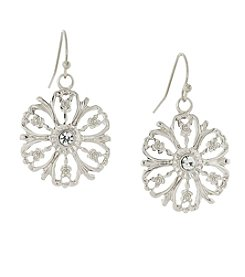1928® Jewelry Silvertone Crystal Accent Flower Drop Earrings