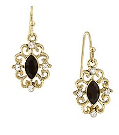 1928® Jewelry Goldtone Black with Crystal Navette Drop Earrings