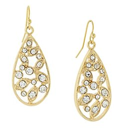 1928® Jewelry Goldtone Crystal Cluster Teardrop Earrings