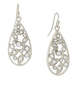 1928® Jewelry Silvertone Crystal Cluster Teardrop Earrings