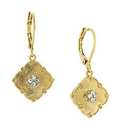 1928® Jewelry Goldtone Crystal Accent Drop Earrings