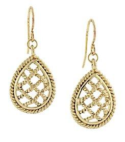 1928® Jewelry Goldtone Filigree Teardrop Earrings