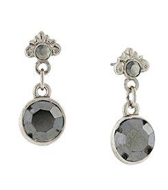 1928® Jewelry Silvertone Hematite Color Drop Earrings