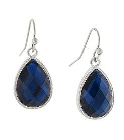 1928® Jewelry Silvertone Blue Teardrop Earrings