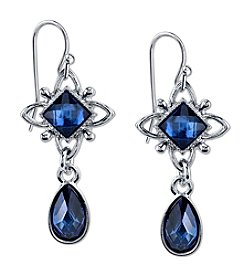 1928® Jewelry Silvertone Blue Drop Earrings