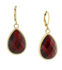 1928® Jewelry Goldtone Red Teardrop Earrings