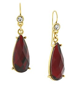 1928® Jewelry Goldtone Red with Crystal Accent Teardrop Earrings