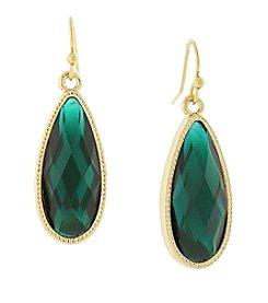 1928® Jewelry Goldtone Green Elongated Teardrop Earrings
