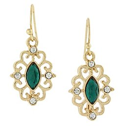 1928® Jewelry Goldtone Green Navette and Crystal Accent Filigree Drop Earrings