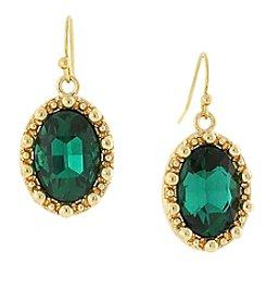 1928® Jewelry Goldtone Green Oval Drop Earrings