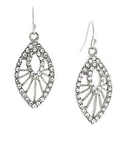 1928® Jewelry Silvertone Crystal Filigree Drop Earrings