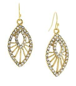 1928® Jewelry Goldtone Crystal Filigree Drop Earrings