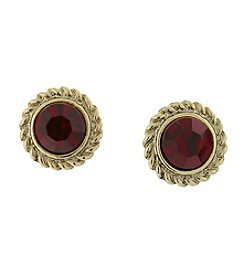 1928® Jewelry Goldtone Red Round Button Earrings