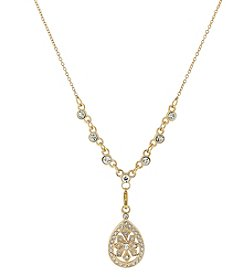 1928® Jewelry Goldtone Crystal Filigree Teardrop Necklace